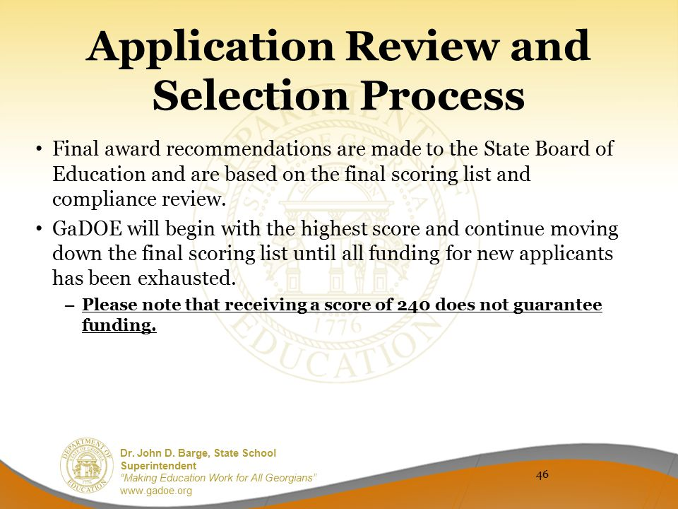 Application Review and Selection Process