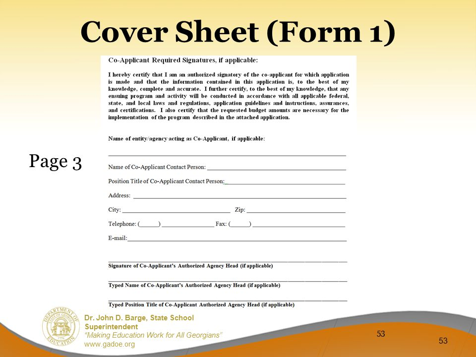 Cover Sheet (Form 1) Page 3