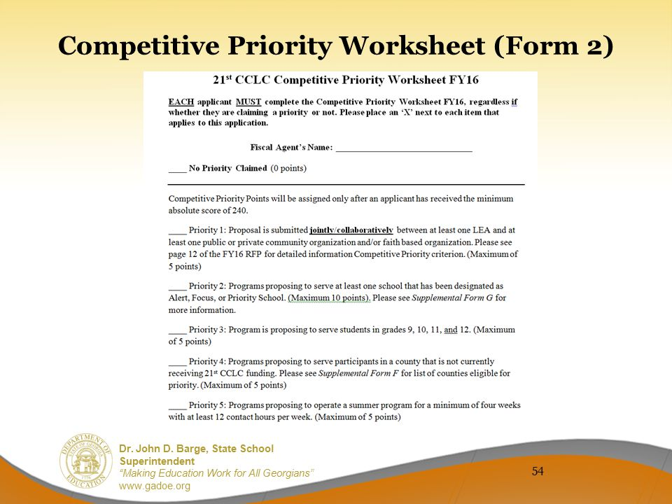 Competitive Priority Worksheet (Form 2)