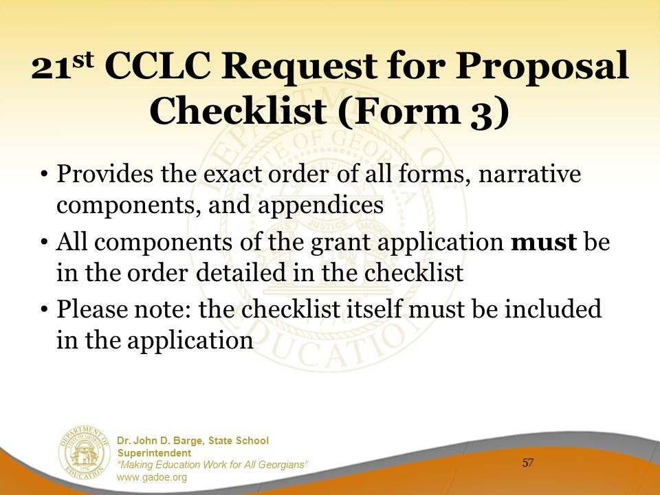 21st CCLC Request for Proposal Checklist (Form 3)