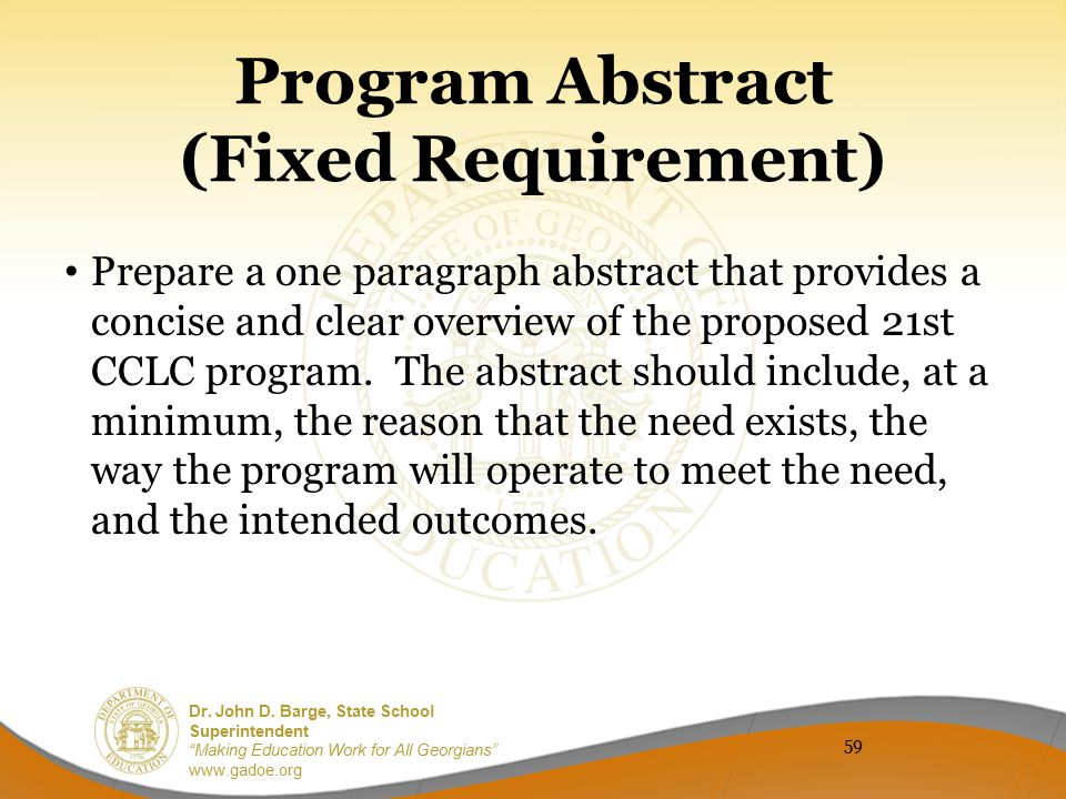 Program Abstract (Fixed Requirement)