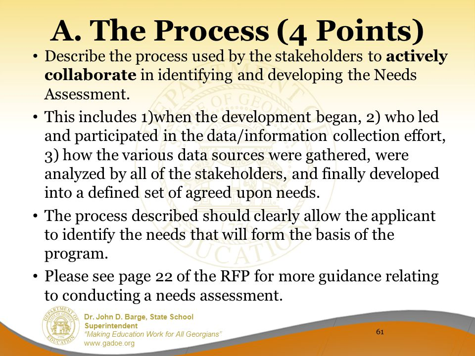 A. The Process (4 Points) Describe the process used by the stakeholders to actively collaborate in identifying and developing the Needs Assessment.