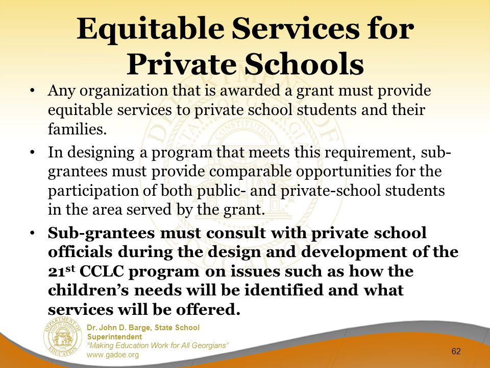 Equitable Services for Private Schools