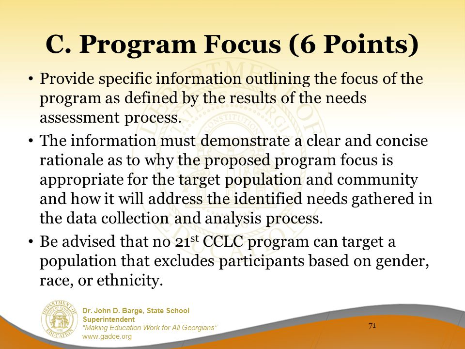 C. Program Focus (6 Points)