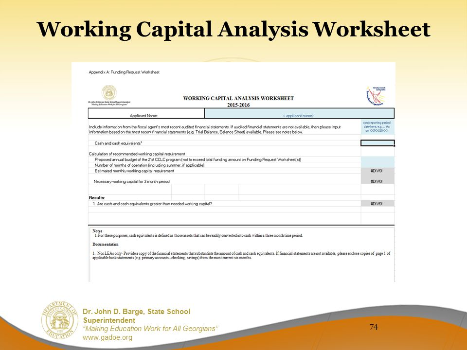 Working Capital Analysis Worksheet