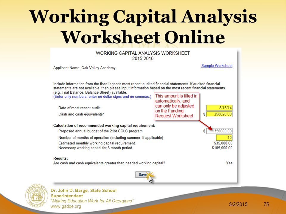 Working Capital Analysis Worksheet Online