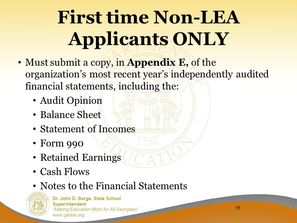 First time Non-LEA Applicants ONLY