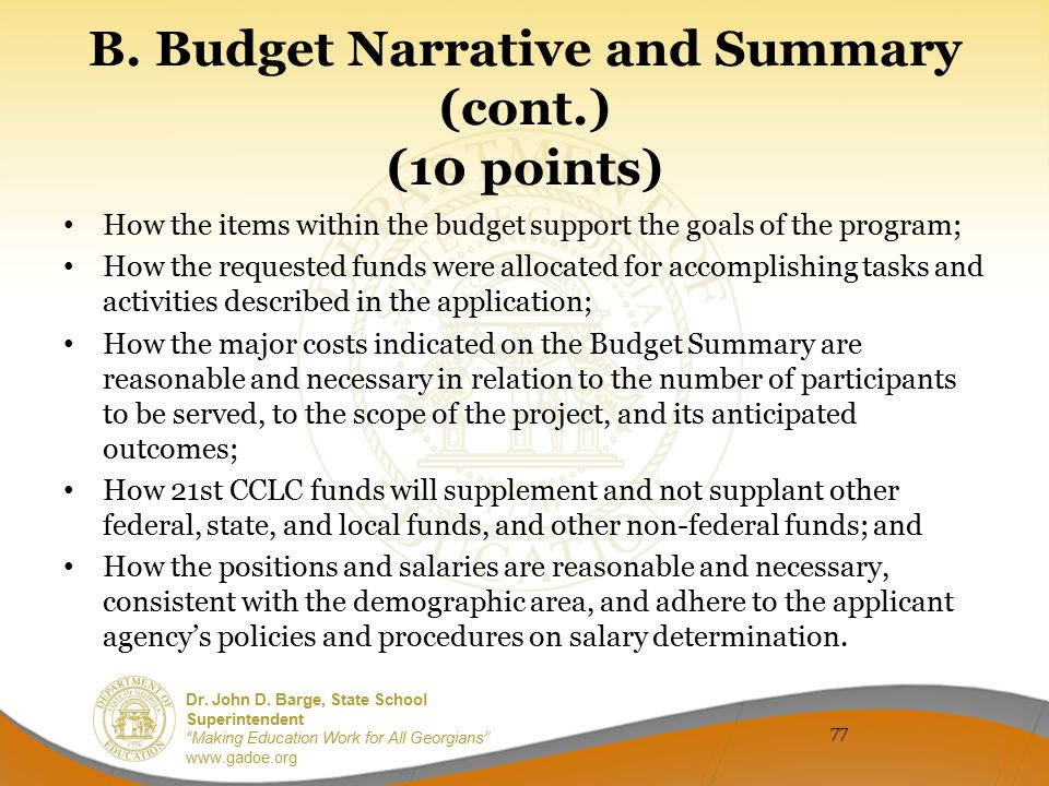 B. Budget Narrative and Summary (cont.) (10 points)
