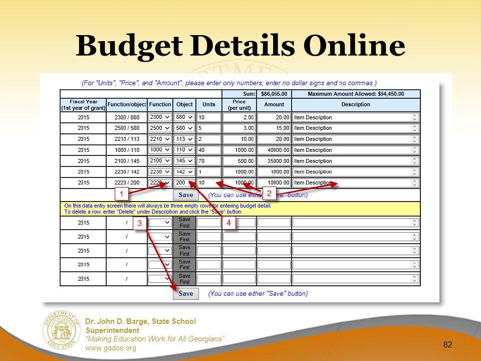 Budget Details Online
