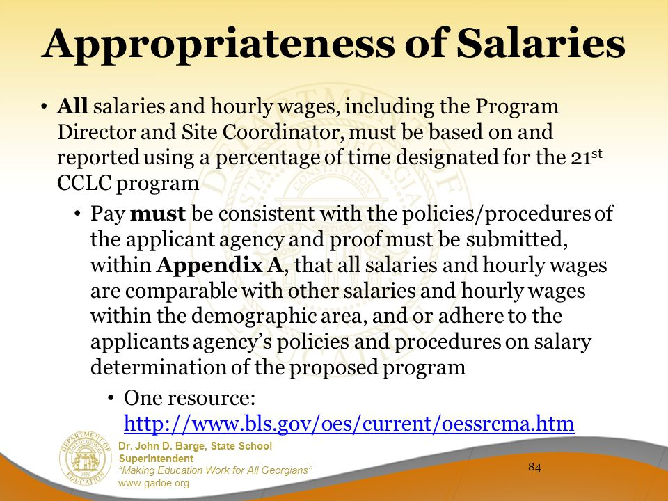 Appropriateness of Salaries