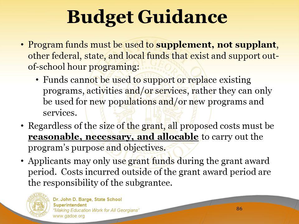 Budget Guidance