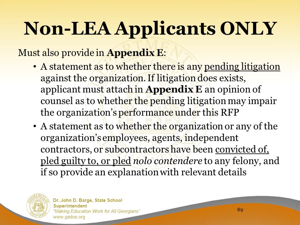 Non-LEA Applicants ONLY
