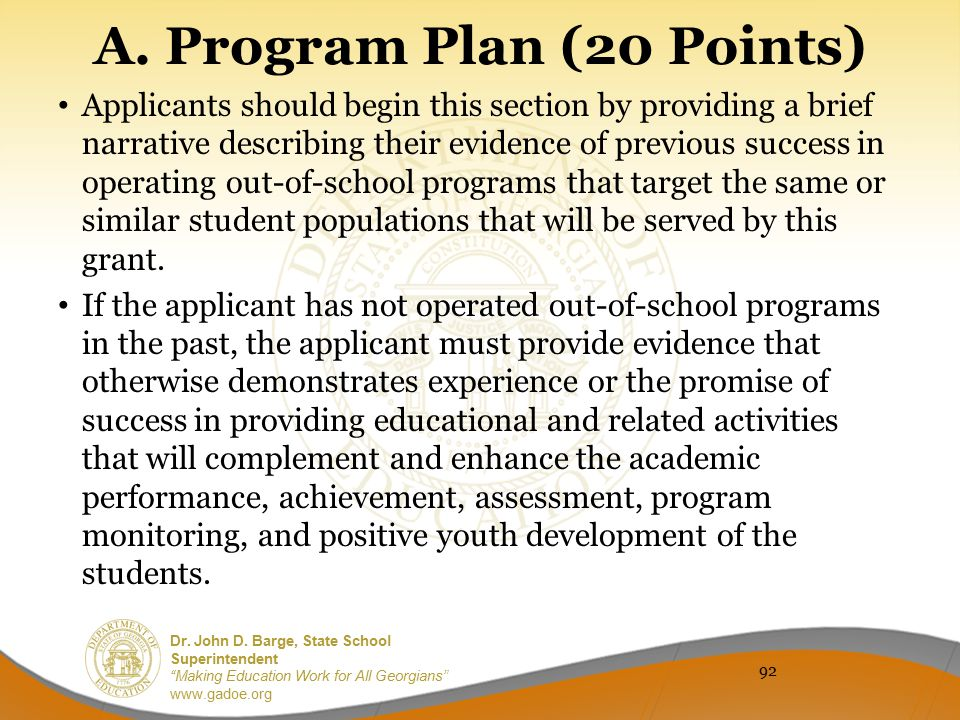 A. Program Plan (20 Points)
