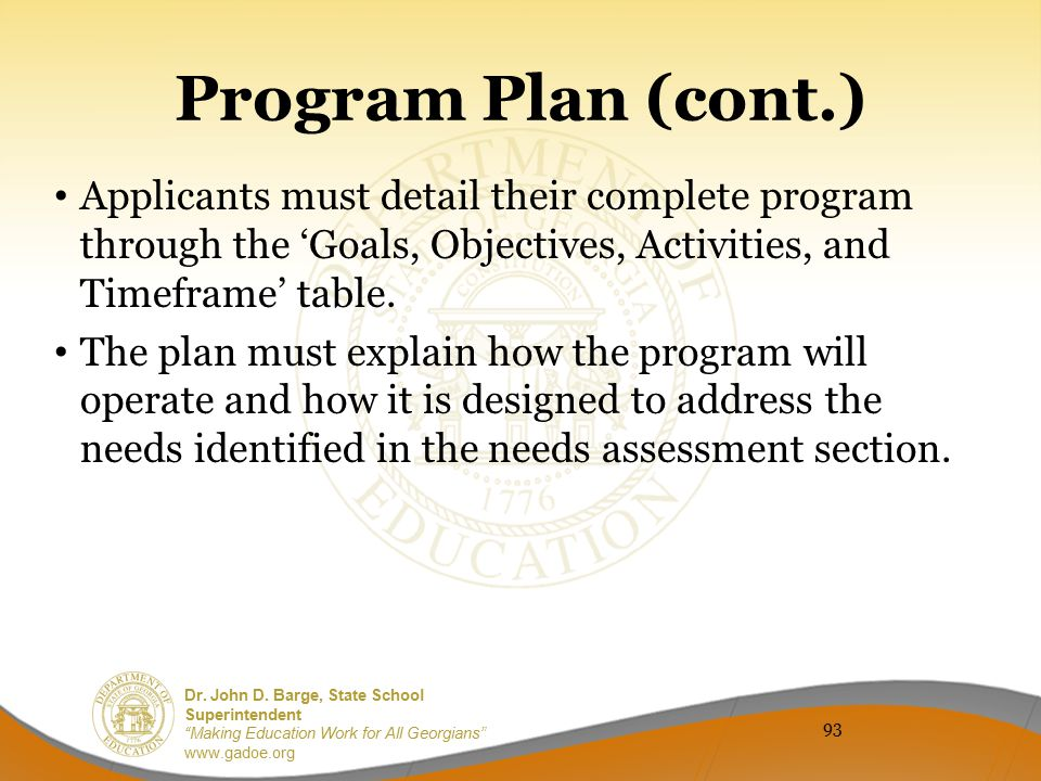 Program Plan (cont.) Applicants must detail their complete program through the 'Goals, Objectives, Activities, and Timeframe' table.