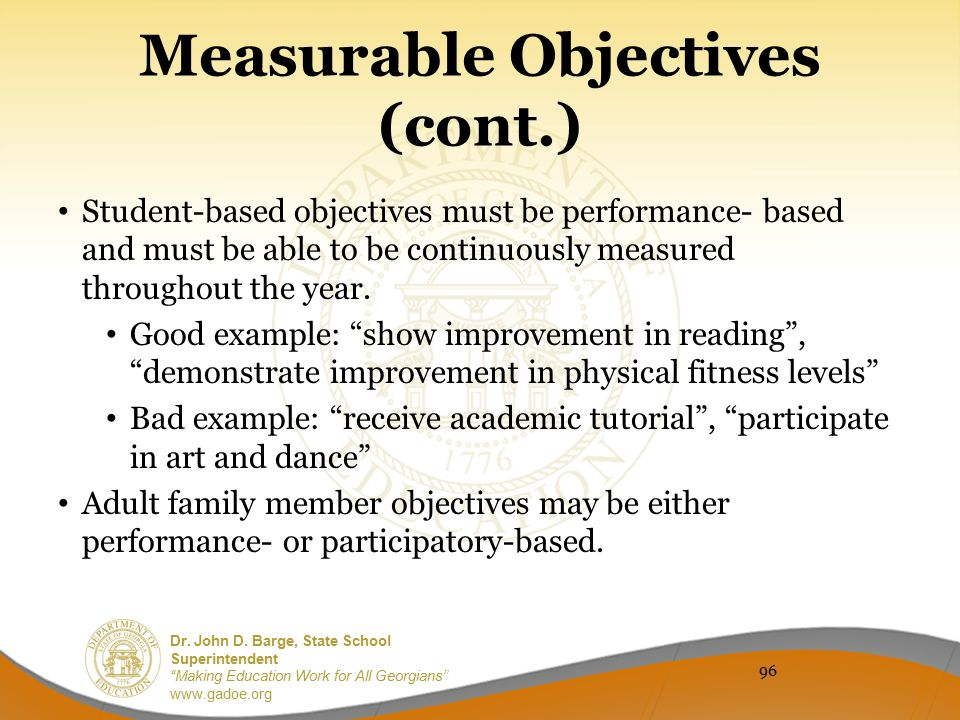 Measurable Objectives (cont.)