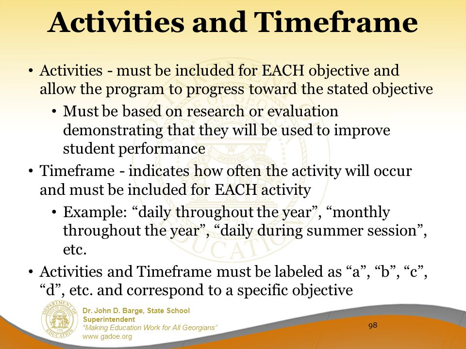 Activities and Timeframe