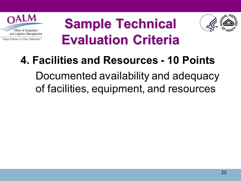 Sample Technical Evaluation Criteria