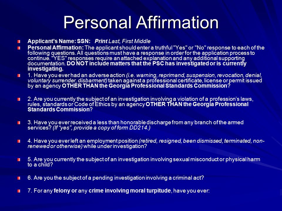 Personal Affirmation Applicant's Name: SSN: Print Last, First Middle