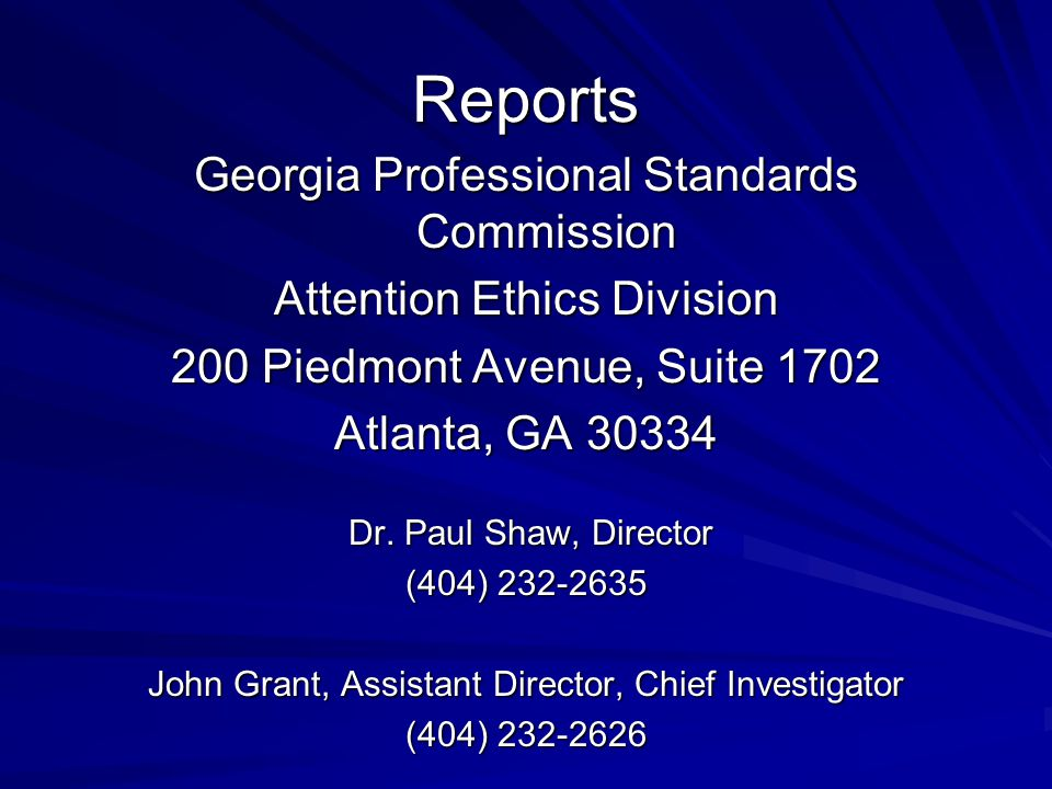 Reports Georgia Professional Standards Commission