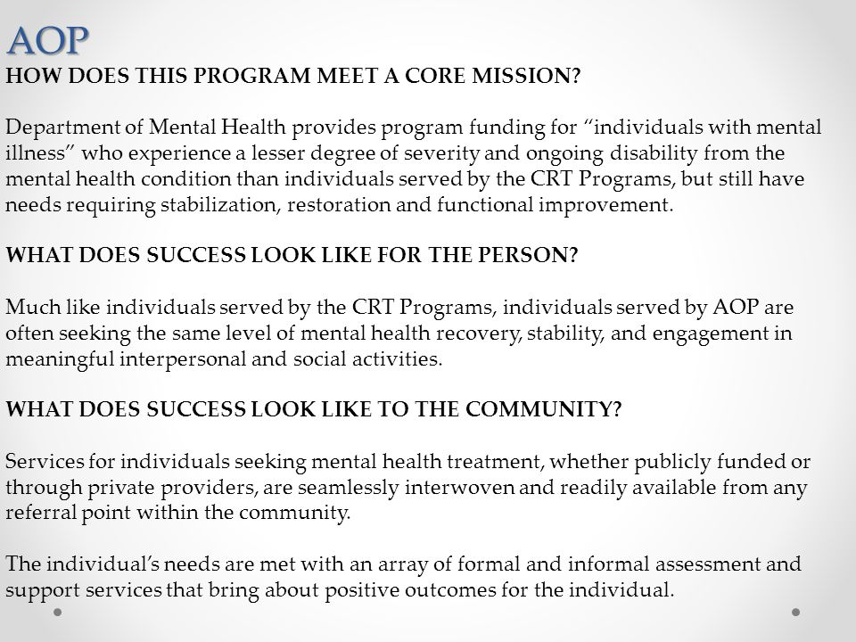 AOP HOW DOES THIS PROGRAM MEET A CORE MISSION
