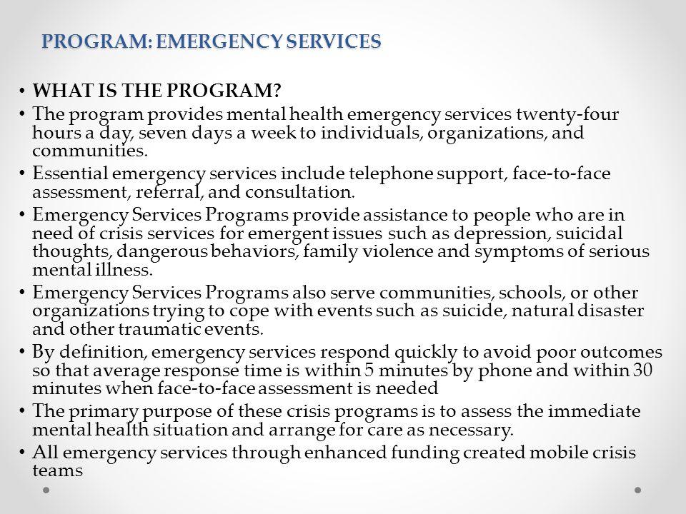PROGRAM: EMERGENCY SERVICES