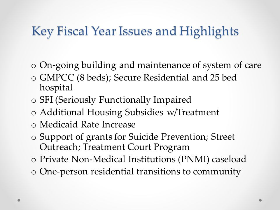 Key Fiscal Year Issues and Highlights