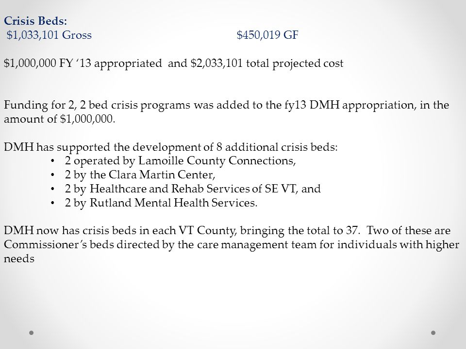 Crisis Beds: $1,033,101 Gross $450,019 GF. $1,000,000 FY '13 appropriated and $2,033,101 total projected cost.