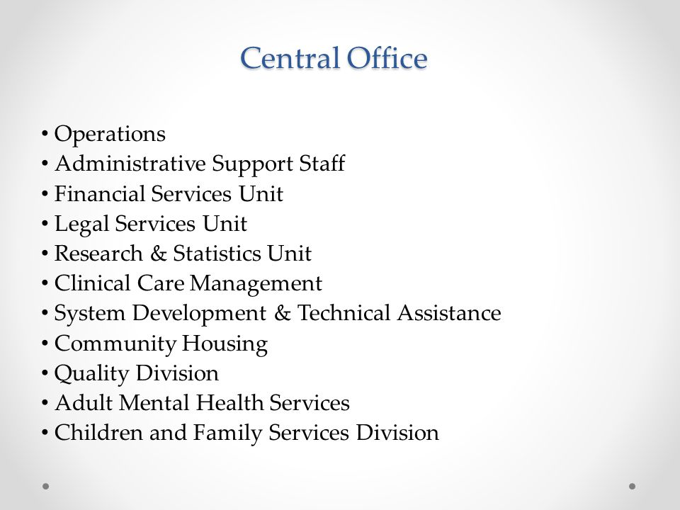 Central Office Operations Administrative Support Staff