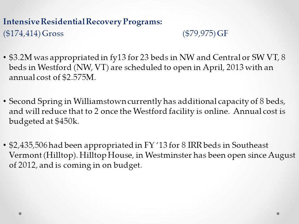 Intensive Residential Recovery Programs:
