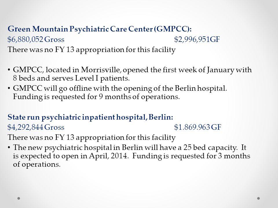Green Mountain Psychiatric Care Center (GMPCC):