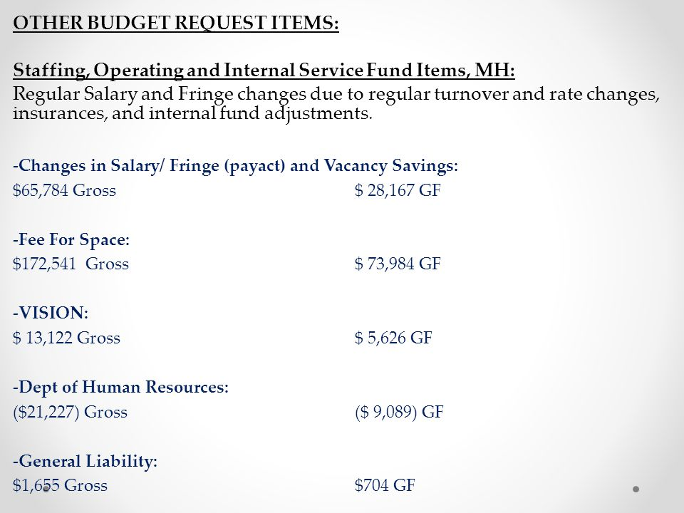 other budget REQUEST Items: