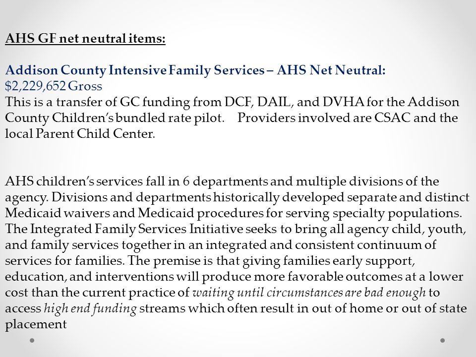AHS GF net neutral items: