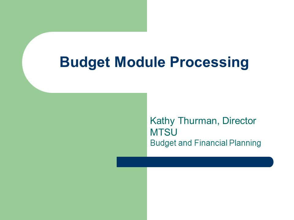 Budget Module Processing
