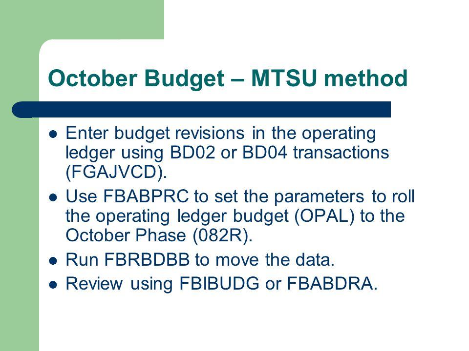 October Budget – MTSU method