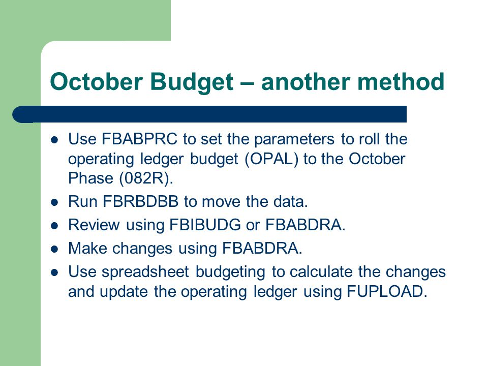 October Budget – another method