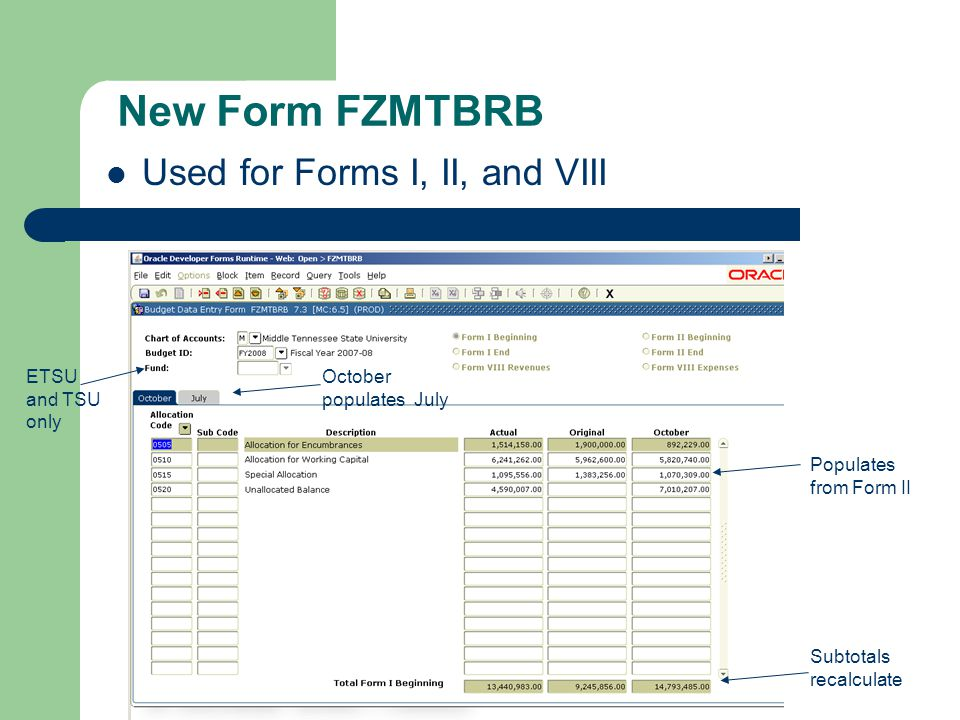 New Form FZMTBRB Used for Forms I, II, and VIII ETSU and TSU only