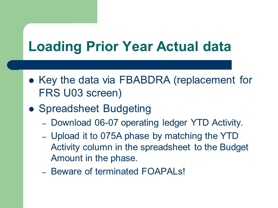 Loading Prior Year Actual data