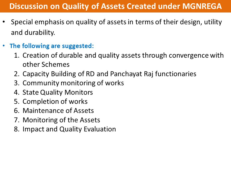 Discussion on Quality of Assets Created under MGNREGA