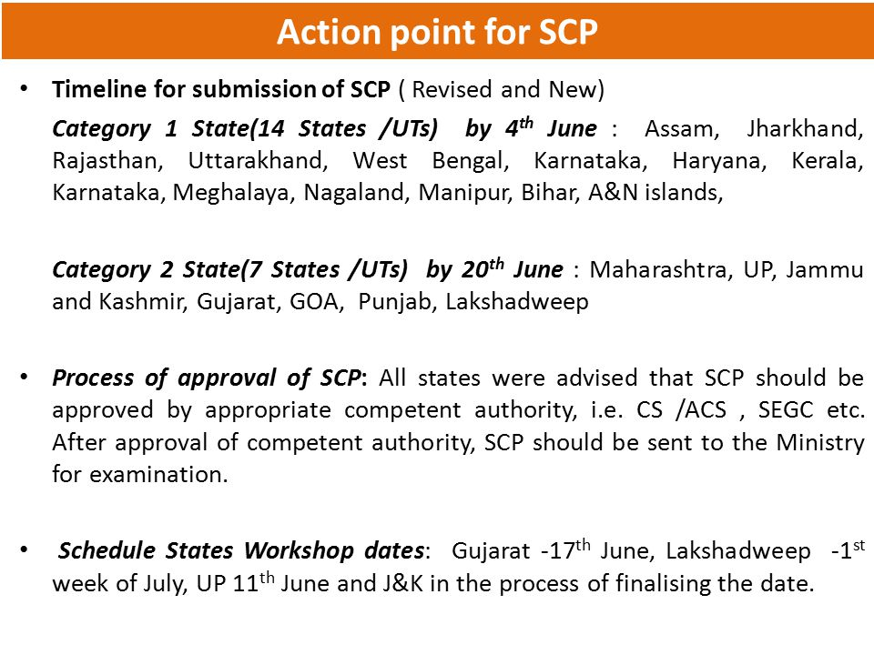 Action point for SCP Timeline for submission of SCP ( Revised and New)