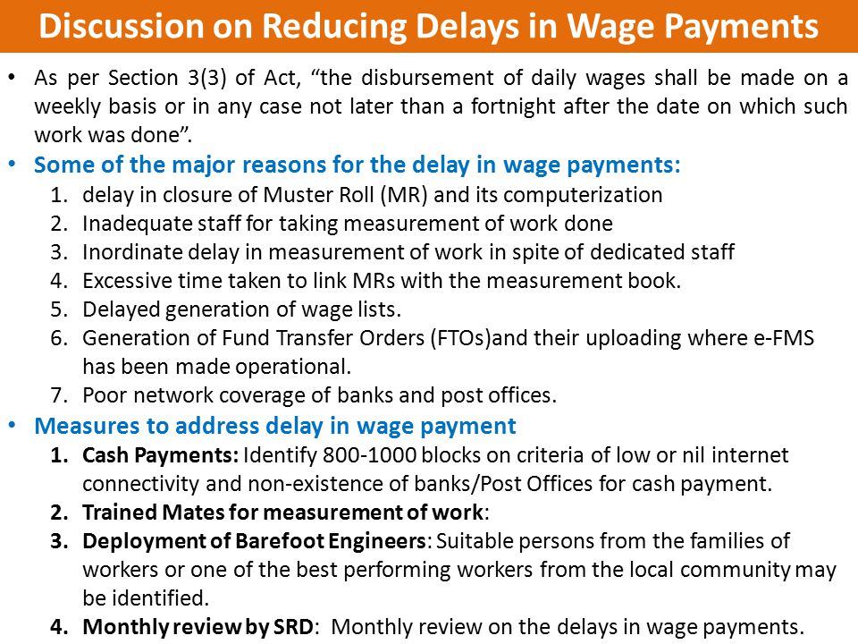 Discussion on Reducing Delays in Wage Payments