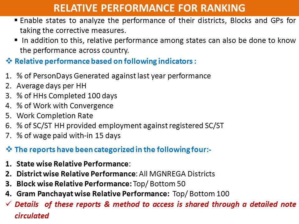 RELATIVE PERFORMANCE FOR RANKING
