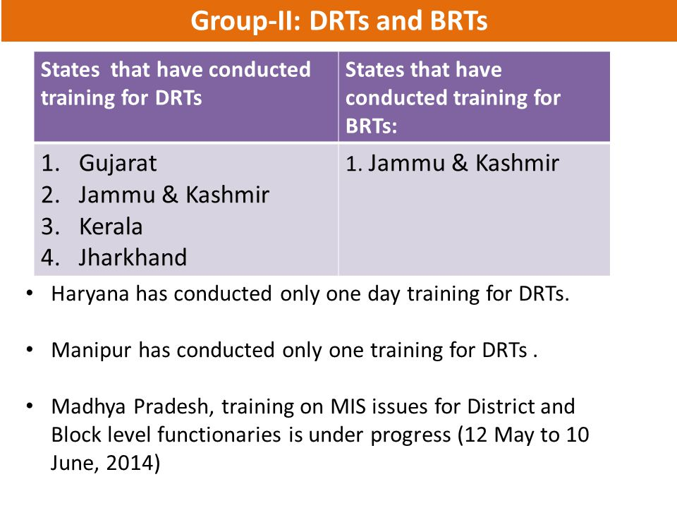 Group-II: DRTs and BRTs