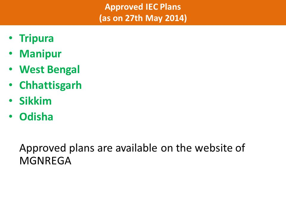 Approved IEC Plans (as on 27th May 2014)