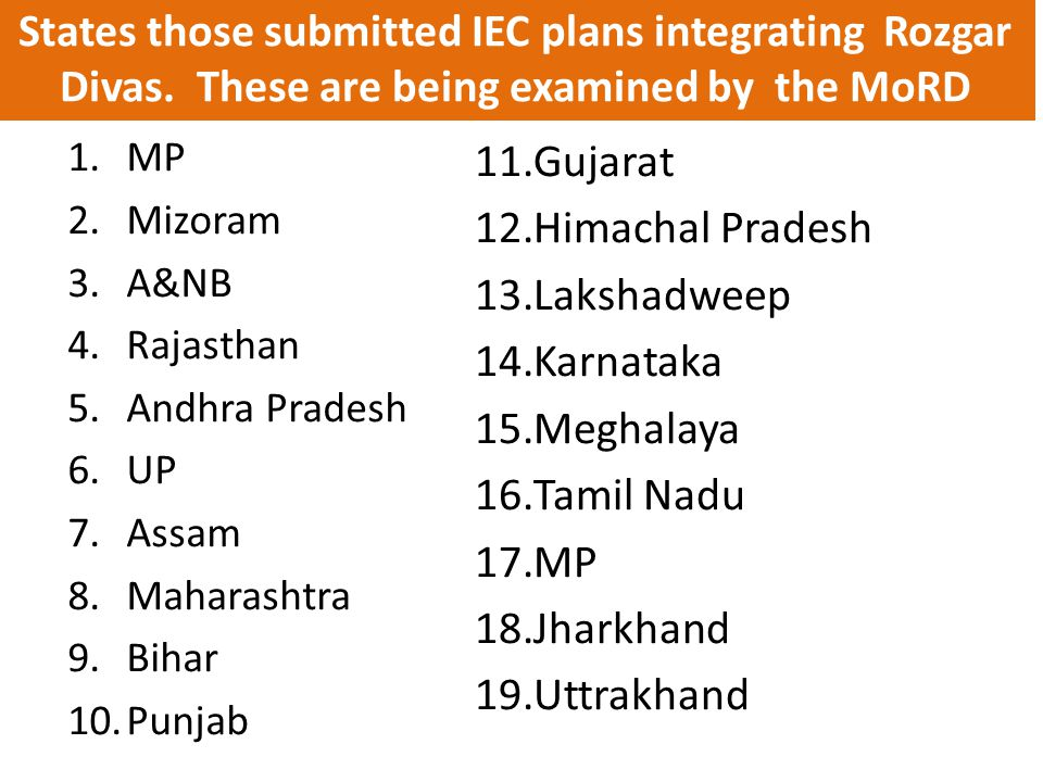 States those submitted IEC plans integrating Rozgar Divas