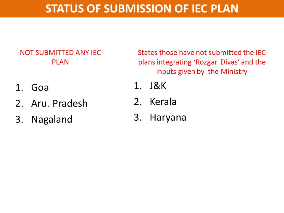 STATUS OF SUBMISSION OF IEC PLAN