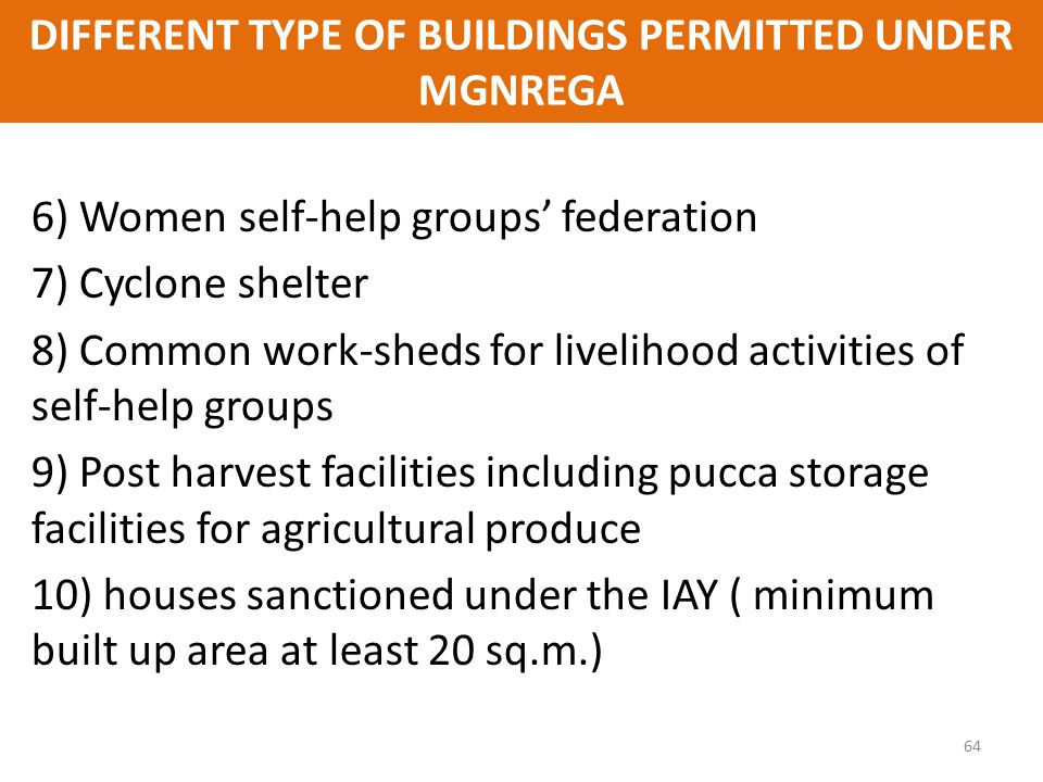 DIFFERENT TYPE OF BUILDINGS PERMITTED UNDER MGNREGA