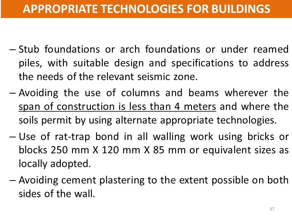 APPROPRIATE TECHNOLOGIES FOR BUILDINGS