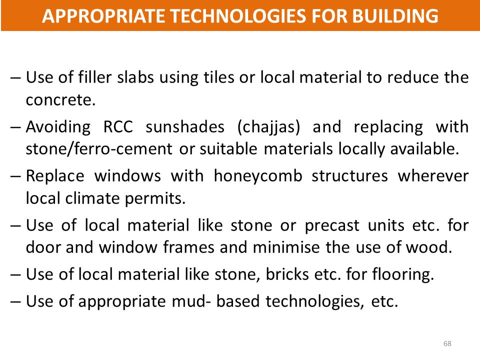 APPROPRIATE TECHNOLOGIES FOR BUILDING