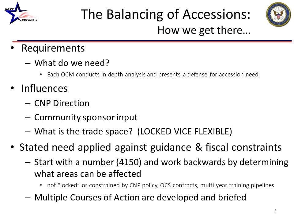 The Balancing of Accessions: How we get there…