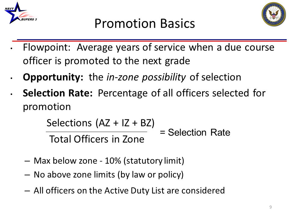Promotion Basics Flowpoint: Average years of service when a due course officer is promoted to the next grade.
